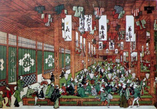 틀에 얽메이지 않는 조닌의 혁신적인 상업 정신을 상징하는 미쓰이(三井) 포목점. 1673년에 문을 연 미쓰이 포목점은 백화점식 상품 진열, 정찰제, 즉석 옷 제작 등 당시에는 상상할 수도 없었던 혁신을 실천했다. 오늘날 미쓰이 그룹의 전신..