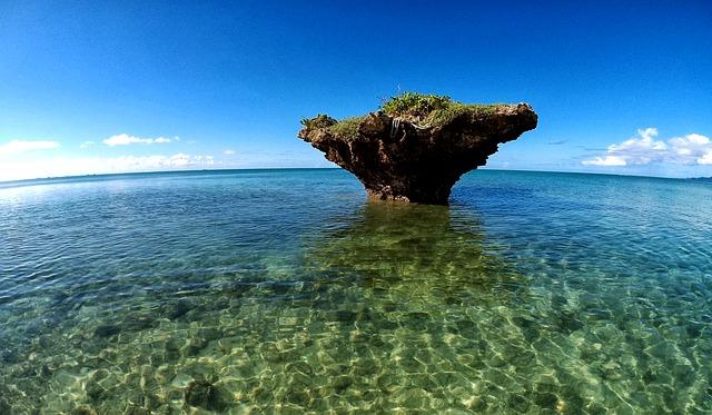 바다 바위섬 파도