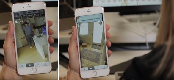 월마트의 냉장고 배달서비스. 카메라를 통한 냉장고 배달 확인(왼쪽 사진), 현관문 닫힘 알림(오른쪽 사진, 출처: 월마트)