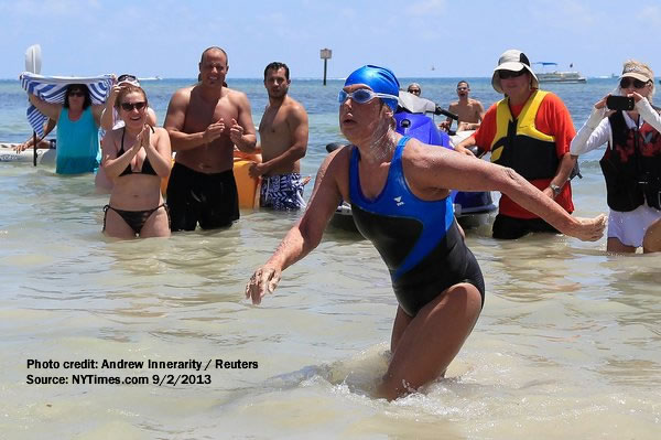 Photo of endurance swimmer Diana Nyad reaching shores after successfully swimming from Cuba to Florida without using a shark cage. Photo credit:: Reuters