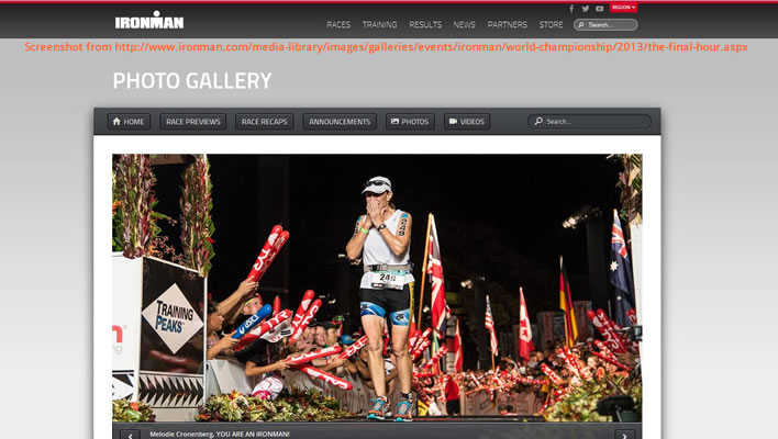 Photo of Melodie Cronenberg finishing the 2013 Ironman World Championship race, photo from Ironman.com