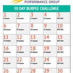Calendar layout for XCELL Performance Group's 30 Day Burpee Challenge