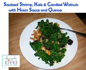 Photo of sauteed shrimp, kale and candied walnuts with hoisin sauce over quinoa