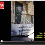 """Screenshot of video clip showing 88-year-old woman dancing on doorstep to the song """"Runaround Sue."""" Video on YouTube.com"""