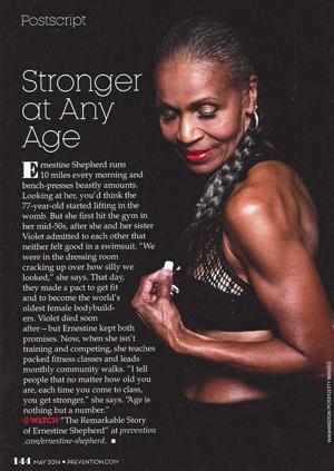 Copy of Prevention Magazine article on Ernestine Shepherd