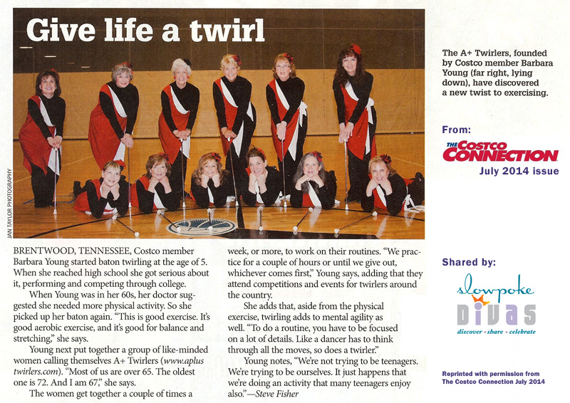 Photo and article about women over 65 who enjoy baton twirling to stay fit. Reprinted with permission from The Costco Connection July 2014.