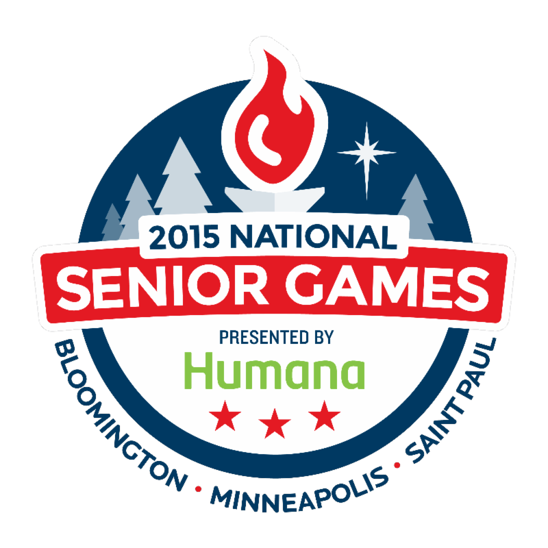 Color logo for the 2015 National Senior Games presented by Humana