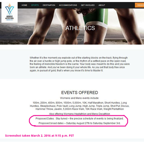 Screenshot of the Americas Masters Games' athletics page as of March 2, 2016