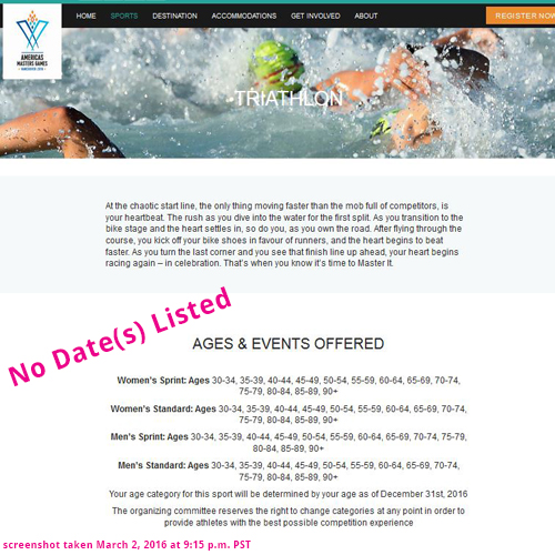 Screenshot of the Americas Masters Games' triathlon page as of March 2, 2016