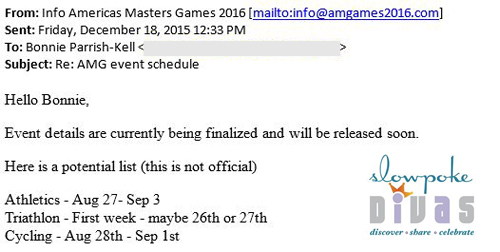 screenshot of email response from Americas Masters Games