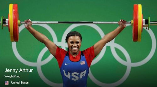 U.S. women's weightlifter Jenny Arthur successfully lifts weight at 2016 Summer Olympic Games in Rio.