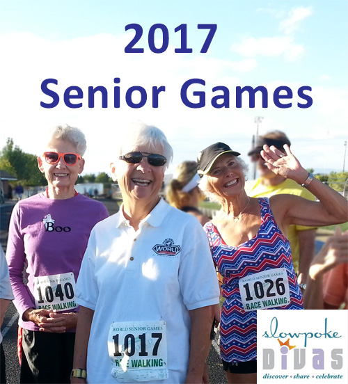 """color photo of three senior female race walkers with text """"2017 Senior Games"""""""