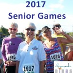 "color photo of three senior female race walkers with text ""2017 Senior Games"""