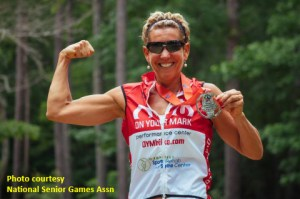 Kathleen Petrillo, 2nd place, W55-59, women's 10K cycling time trial at the 2017 National Senior Games.