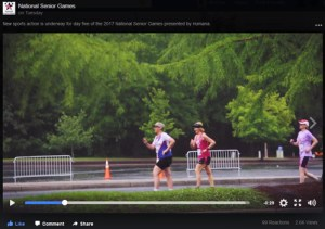 Screenshot of three women competing in 5K race walk from 2017 National Senior Games' video.