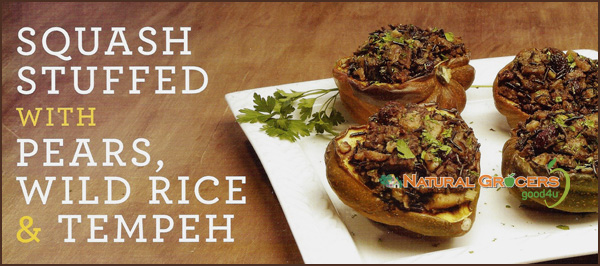 squash stuffed with pears, wild rice & tempeh. photo owned by natural grocers