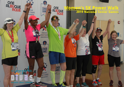 top seven power walkers in the women's 75-79 age group at the 2019 National Senior Games