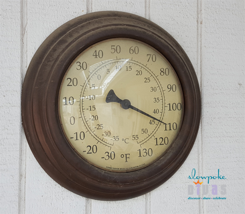 110 degrees showing on wall thermometer