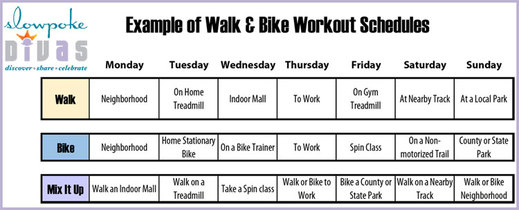 example of daily walk and bike workouts