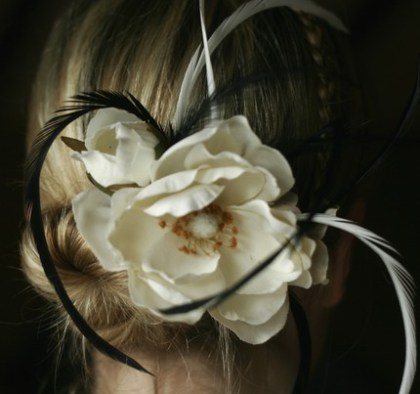 White Magnolia Flower Wedding Fascinator hairclip with Gorgeous Burlesque Feathers