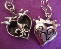 Crown-Heart SECRET Pendant -- Sterling Fleur De Lis