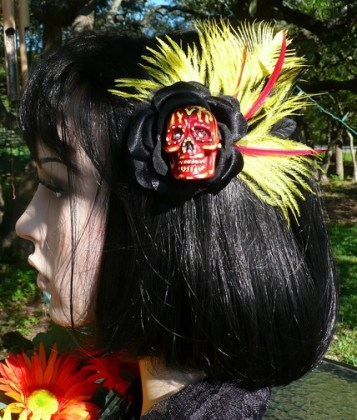 DAY OF THE DEAD Hand Painted RED Skull Hair Clip Fascinator