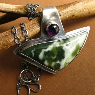 Jade. Amethyst . Sterling Silver . Necklace