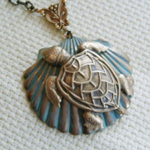 SAVE THE GULF SEA LIFE AFTER THE OIL SPILL Enchanted Sea Turtle Necklace