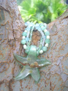 oil spill donations. seafoam starfish necklace