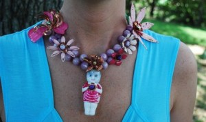 Statement Necklace - Vintage Milk Glass Christmas Light Bulb and Enameled Vintage Metal Flowers - Holiday Baby