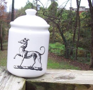Greyhound, Whippet , Italian Greyhound Kibble or Dog Treat Canister Jar