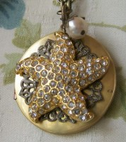 Dance Of The Starfish In The Deep Blue Sea-Repurposed Vintage Locket-Vintage Earring Necklace