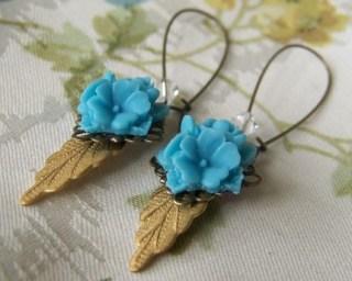 Wild Flowers, Turquoise Brass Leaf Earrings