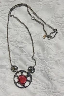 Tourmaline Wheel Necklace-Pink