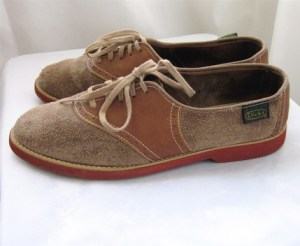 Vintage 80's Buff SUEDE SADDLE OXFORDS 7B