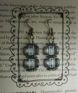 Double-Decker Blue Glass Cube Earrings