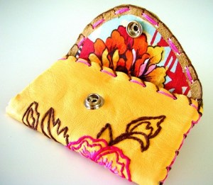 Leather Wallet Floral Hand Embroidered pink orange yellow