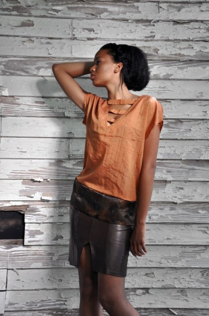 SALE Burnt Orange Textured Satin Top with Sash size small medium - Calliope