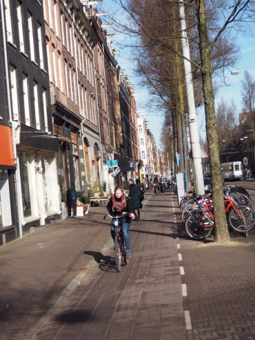 A retail street with high cycling volumes