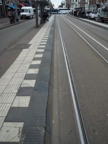 A tram stop made of modular pieces