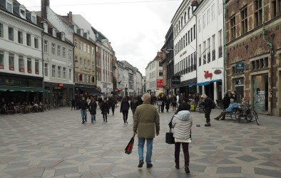 One part of Copenhagen's Stroget, a network of walking and cycling only streets