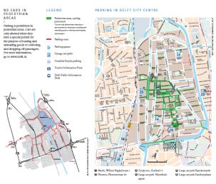 Delft car-free city center network servicing 68 acres (Source: http://www.delft.nl/Gemeenteloket/Folders_gemeente_Delft/Folders_parkeren_en_verkeer)