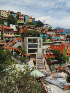 Outdoor escalator serving the lower income informal communities in Medellin, Columbia