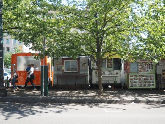 A food truck pod in downtown Portland on what would be another boring and inefficient use of valuable land as a parking lot.
