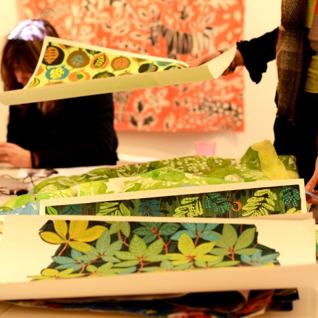 Sarah Campbell's textile designs at My Nature show, a Slow Textiles Group event (designed, devised and delivered by Emma Neuberg)