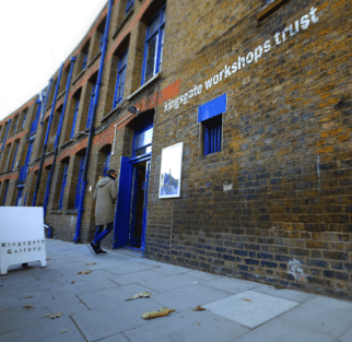 Front entrance to Slow Textiles Group building, Kingsgate Workshops Trust in northwest London