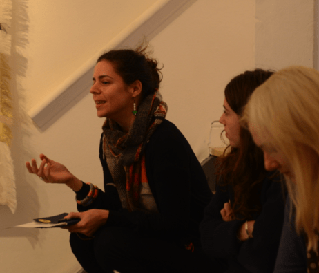 Ismini Samanidou at a Slow Textiles Group event (designed and devised by Emma Neuberg)