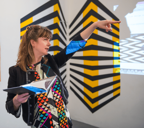 Emma Neuberg introduces The Geometrics: Volume 1, a Slow Textiles Group interactive event (designed, devised and delivered by Emma Neuberg)