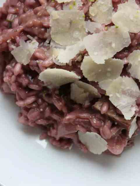 red wine risotto with steak