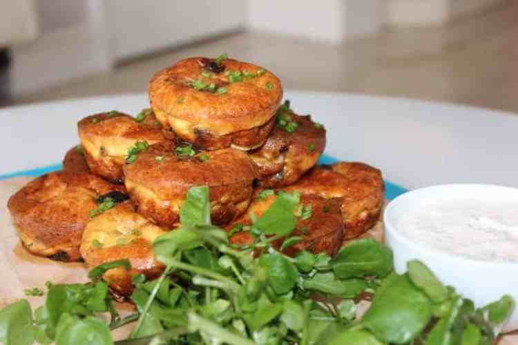Steak and Red Onion Muffins with Horseradish Dip